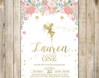 FLORAL FAIRY First BIRTHDAY Invitation, Blush Pink Mint Gold Pixie Invite, 1st Birthday Party, Girl One Birthday Rustic Enchanted Garden Tea