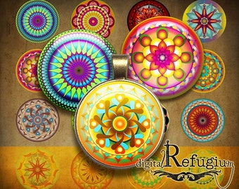 Mandalas 24 Images, 1 inch/1,5 inch,Digital Collage Sheet,jewelry images,printable, instant download