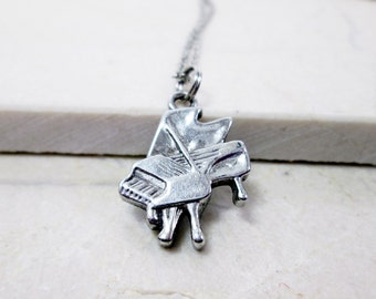 Small Piano Necklace Music Gift Personalized Piano Jewelry Initial Necklace Birthday Gift Music Teacher Gift Best Friend Gift Piano Gift
