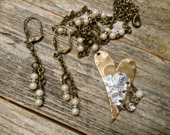 Brass and Silver Heart with Pearls and Rhinestones - Necklace and Earrings Set