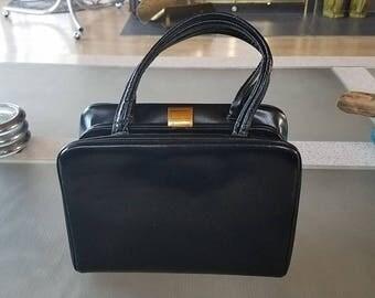 Vintage Mid Century Black Leather Box Purse Top Handle Handbag