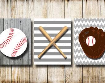 Vintage BaseballCanvas Baseball Wall Printsnursery Ballgray White
