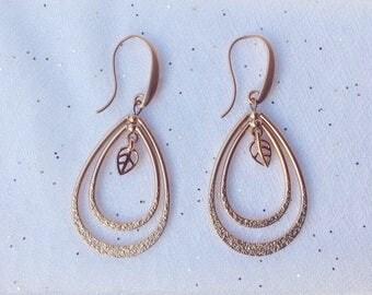ROSE GOLD EARRINGS - Rose Gold Teardrop Earrings - Statement Long earrings - Double Teardrop Earrings