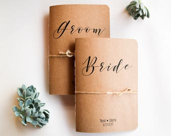 Bride and Groom Vow Books - Personalised Vow Books - Set of 2 Vow Booklets - His and Her Vows - Kraft Brown Vow Booklets - Wedding Notebooks