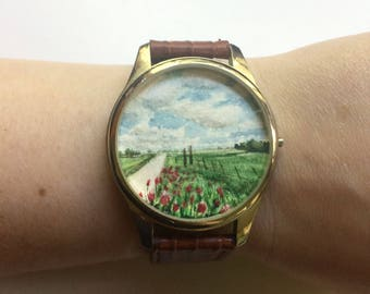 In Clover / original tiny painting framed within a thrift store watch / roadside wildflowers painting / tiny landscape / timeless watch