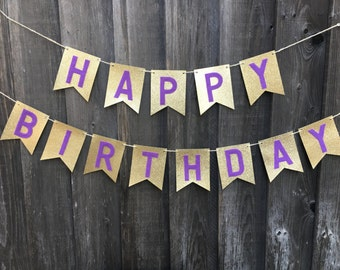 """Gold and Purple """"Happy Birthday"""" Banner"""