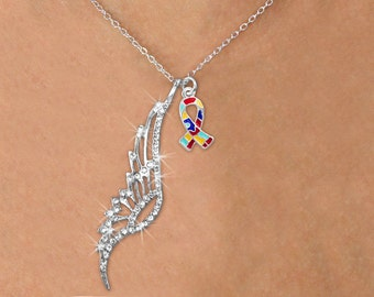 Autism Awareness Necklace Angel Wing Crystal Pendant holding Puzzle Ribbon