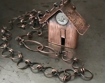Copper birdhouse necklace, rustic hand forged pendant, handmade chain