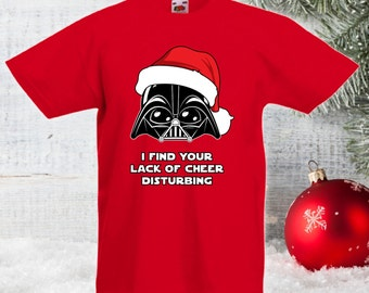 I Find Your Lack Of Cheer Disturbing Tshirt Kids Christmas Gift Ideas For Men Women The Force Imperial Dark Side Geek Bodysuit Darth CT-863