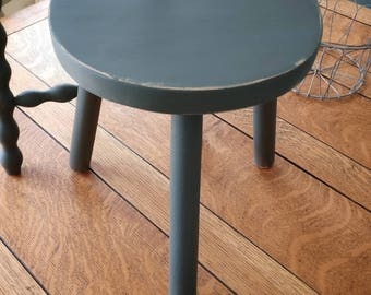 Really cool genuine vintage French milking stools. Hand painted in Autentico's Winter's night with a little distress.(1182)