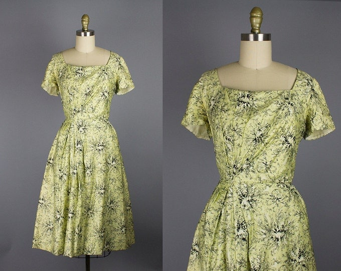 1950s floral cotton dress/ 50s draped dress/ small