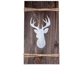 DEER sign- wood- hand painted- rustic decor- farmhouse- weathered look- cabin