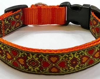 Dog Collar: Gorgeous Jacquard Gold/Orange Hearts Ribbon Designer Dog Collar, Stunning Design,Pet Supply, Pet Gift,Gorgeous, Veterinary Gift
