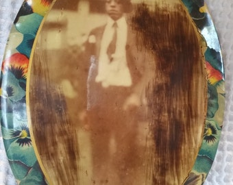 Vintage Photo African American Youth in a Suit Celluloid Frame of Pansies