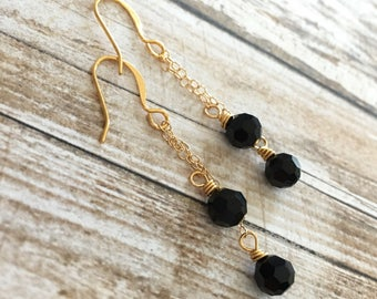 Black Swarovski Crystal 14K Gold Filled Chain Earrings, Dangle and Drop Earrings, Elegant Earrings, Handcrafted Gifts for Her