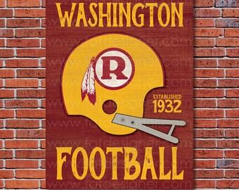 Washington Football - Vintage Helmet - Art Print - Perfect for Mancave