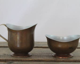 Small Vintage Copper Cladded Creamer and Sugar Set