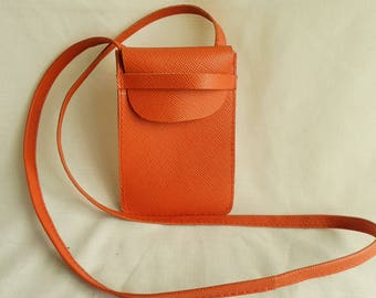 saffiano leather blue or pink cell phone holder with strap