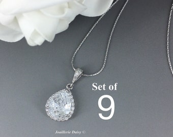Set of 9 Necklace Cubic Zirconia Bridal Jewelry Bridesmaid Gift Crystal Necklace Bridesmaid Necklace Bridal Party Gift for Her