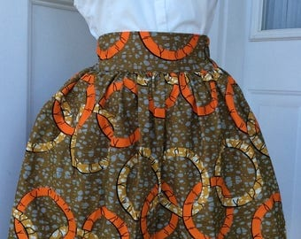 Esty Ankara African Skirt  with two Pocket