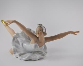gallerymichel Vintage Wallendorf Porcelain Swan Lake Ballerina Figurine Signed