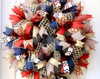 patriotic wreaths for front doorPatriotic Wreath Memorial Day Wreath 4th of July Wreath