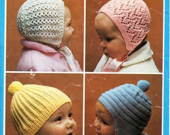vintage baby hats knitting pattern PDF baby bonnets helmet cap QK 5ply sports Instant download