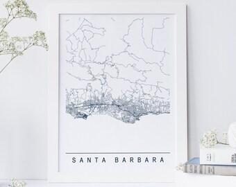 SANTA BARBARA MAP - Minimalist Santa Barbara Art Print, Customizable City Map, High Quality Giclee Print, Modern Map Art