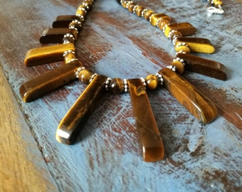 Tigers Eye Fan Necklace, Tigers Eye Necklace
