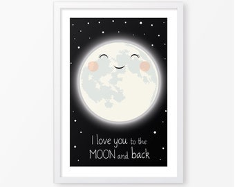 I love you to the moon,kids poster,children wall art,nursery decor,kids room decor,instant download,digital file,nursery poster,baby poster