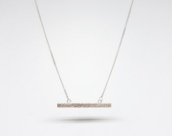 Sterling Silver Bar Handmade Necklace - Hammered or Brushed