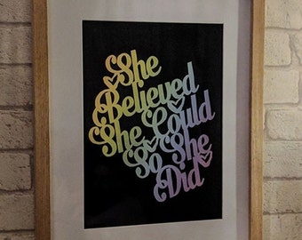 She Believed She Could So She Did commercial use papercutting template