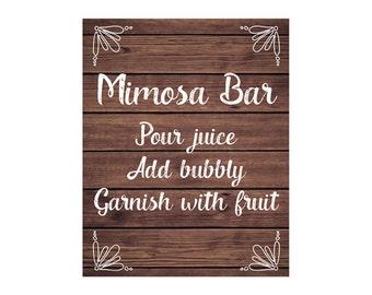 Mimosa Bar Sign, Rustic Wood Sign, DIY Printable JPEG PDF Instant Download220
