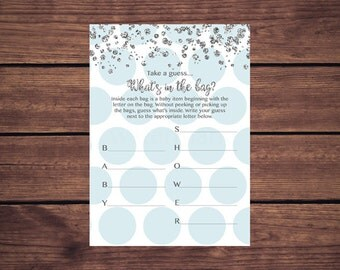 Blue and Silver What's in the Bag Baby Shower Game, Guess What's in the Bag, Blue and Silver Baby Shower Game Instant Download PDF Printable