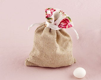 Drawstring Wedding Favour Bag Burlap and Rose Print Border – Pack of 12