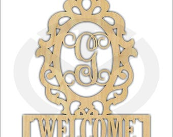 Unfinished Wood Ornate Welcome Frame with Initial Door Hanger Laser Cutout , Home Decor, Ready to Paint & Personalize, Various Sizes
