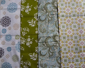 Fabric Bundle of Green and Blue Fabric 1/2 Yard Pieces