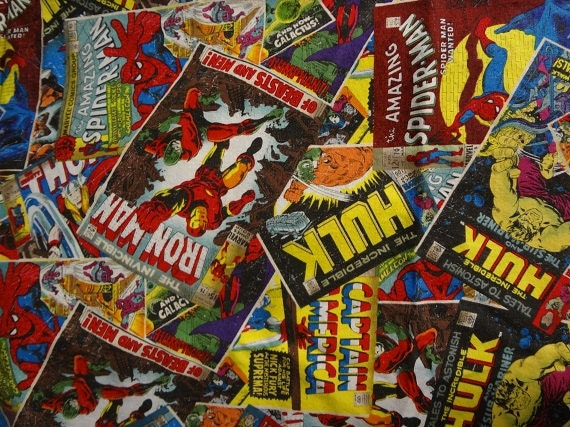 Fabric Book Covers Canada : Fabric marvel comic book covers yard from