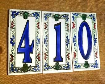 Handmade,Hand Painted Ceramic Number Tiles