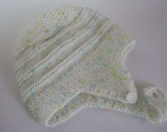 HANDMADE, Hand Knitted Baby Boy Hat, Vintage, Helmut style, Variegated white, blue, yellow, green, infant/ newborn, 0-3 months