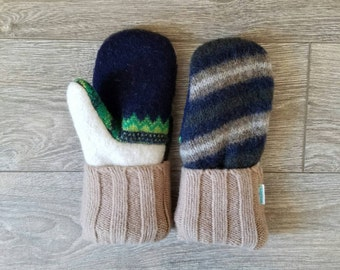 Striped Sweater Mittens //LoveWoolies Mittens //Fleece Lined
