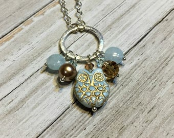 Frosty Blue and Tan Owl Necklace