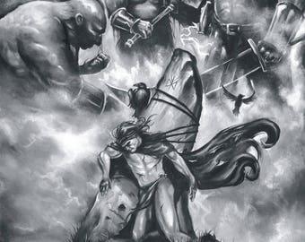 The Warrior - Asatru art, Valhalla art,