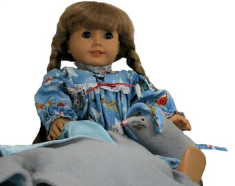 Sparkle Print Nightgown, Gray & Blue Lined Bathrobe, Gray Stuffed Mouse  for 18 Inch Soft Body  Dolls such as American Girl, Our Generation