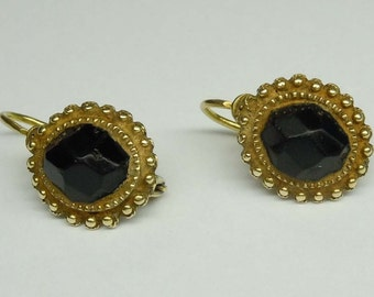 Antique 19th century Victorian Era 14kt Gold Multi Faceted Jet Earrings