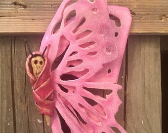 Day of the Dead Folded Wing Filigree Cocoon Skellyfly Glittery Pink Butterfly Skeleton