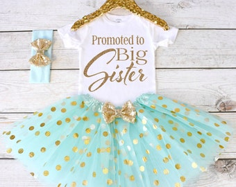 Promoted to Big Sister. Pregnancy Announcement Shirt. Big Sister Announcement. Promoted to Big. Big Sister Top. S24. PGA (AQUA)
