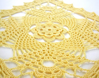 Square Yellow Crochet Doily - Large Square Crochet Doily - Yellow Crochet Lace Doily - Crochet Doily Centerpiece - Decorative Crochet Doily