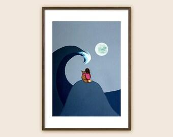"Art Print - Sea Art - Beach Art - Surf Art - Ocean Art - ""The Moon and Sea (Fox and Girl)"""