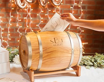 Monogram Wine Barrel Wedding Reception Card Holder Personalized Wedding Decorations